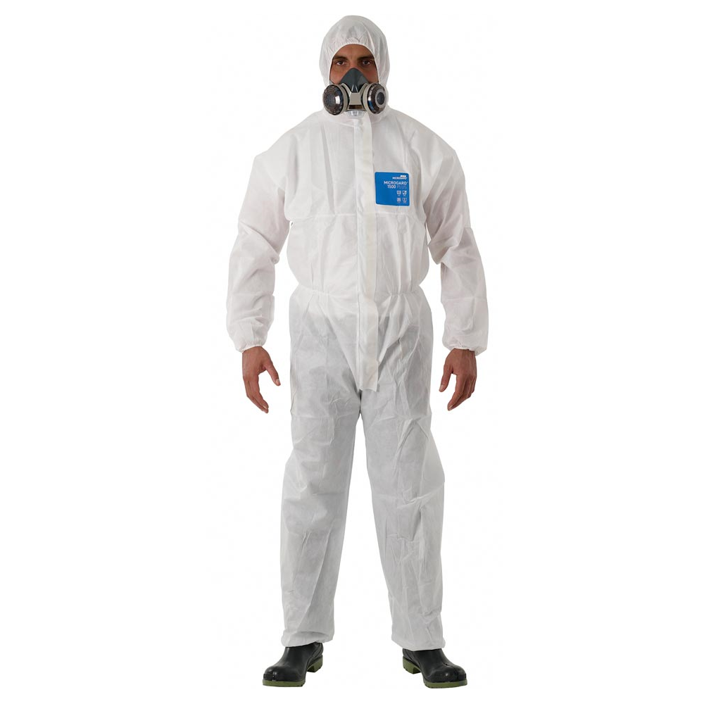 Microgard 1500 Plus Model 111 white coverall with hood