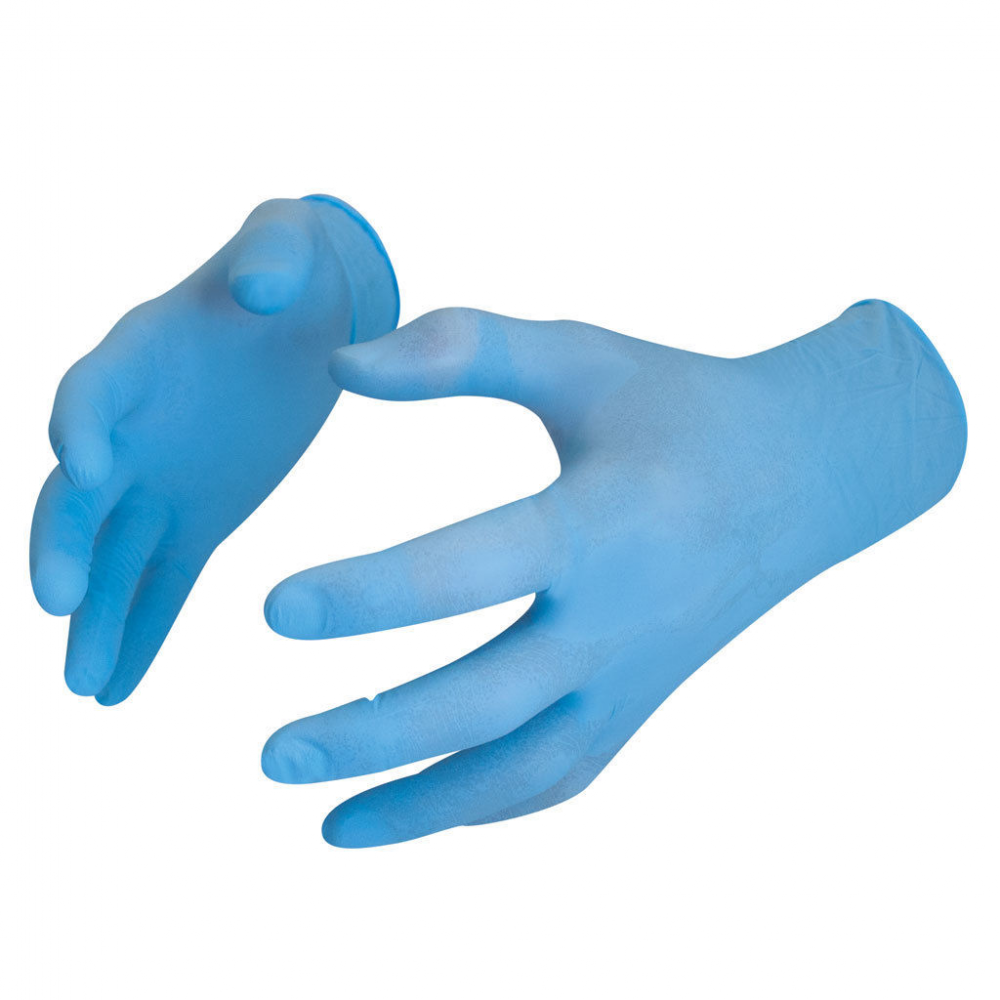 Small Box of 100 Bodyguards GL899 Powdered Blue Nitrile Disposable Gloves
